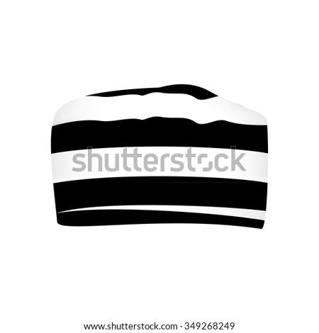 Vector illustration prisoner black and white striped hat or cap - stock vector