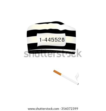 Vector illustration prisoner cap with number and burning cigarette. - stock vector