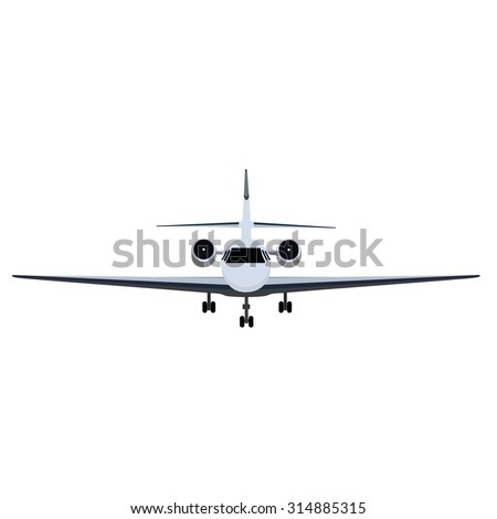 Vector illustration private business jet flying in the sky. Commercial flight and airlines