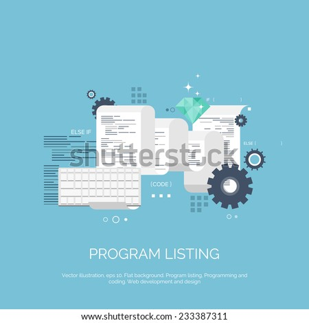 Vector illustration. Program listing. Flat computing background. Programming and coding. Web development and search. Search engine optimization. Innovation and technologies. Mobile app. - stock vector