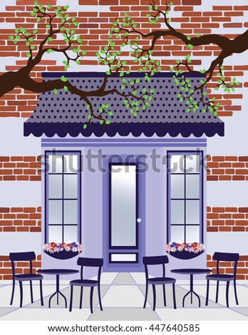 Vector illustration Provence style Cafe outdoors Spring Summer background
