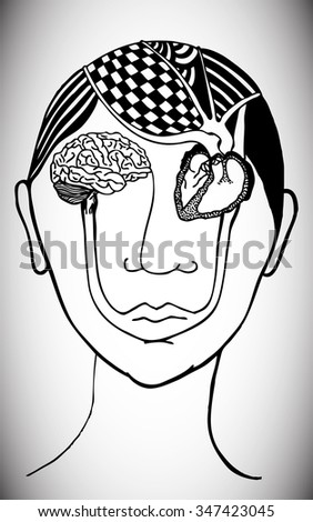 Vector illustration, psychedelic portrait, surreal look, educational card concept. - stock vector