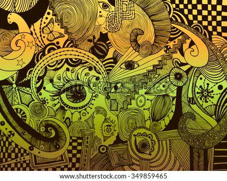 Vector illustration, psychedelic universe, freehand ink drawing, abstract landscape, card concept. - stock vector