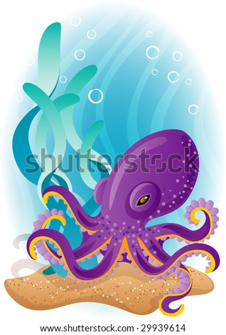 Vector illustration - purple octopus  on the seabed - stock vector