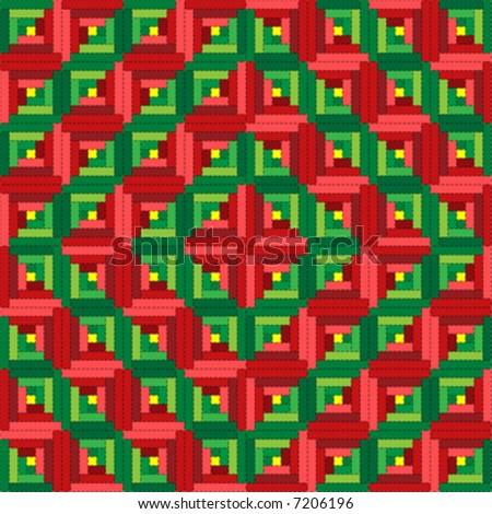 Vector illustration quilt series--christmas log cabin quilt in barn raising pattern. - stock vector