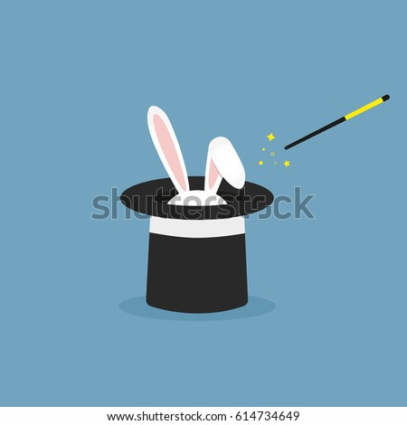 Vector illustration rabbit in magic hat. Flat icon