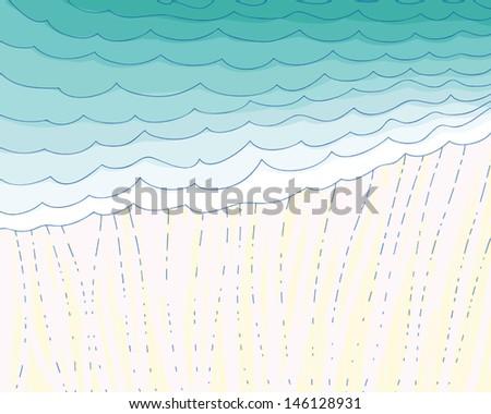 vector illustration-rain. dark clouds and summer rain - stock vector