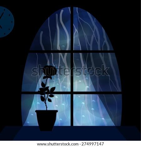 Rain Outside The Window Night City A Flower On Windowsill