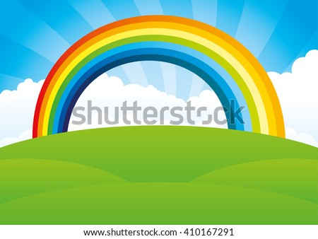 Vector illustration. Rainbow and clouds in the blue sky.