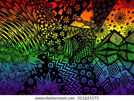 Vector illustration, rainbow surreal dream, card concept. - stock vector