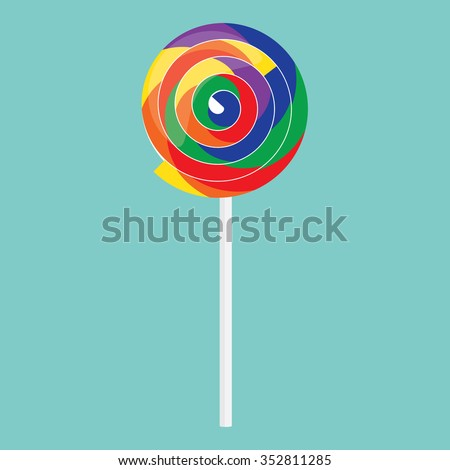 Vector illustration rainbow swirl lollipop on blue background. Colorful lollipop icon. Candy lollipop sweet food sugar caramel - stock vector