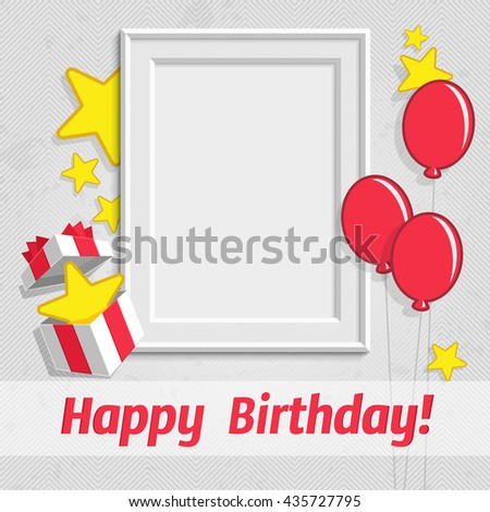 Vector illustration realistic design photo frame on white background. Decorative template for baby, family or memories. Scrapbook concept. Concept of birthday greetings. - stock vector