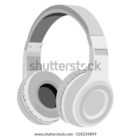 Vector illustration realistic grey headphones icon. Stereo headphones - stock vector