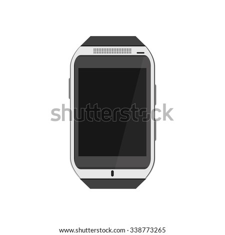 Vector illustration realistic white smartwatch. Wearable tehnology. Smartwatch flat icon