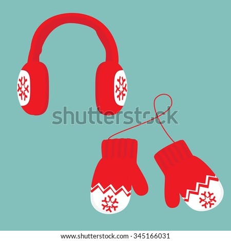 Vector illustration red and white ear muffs and pair of knitted winter mittens on blue background. Christmas greeting card with mittens - stock vector