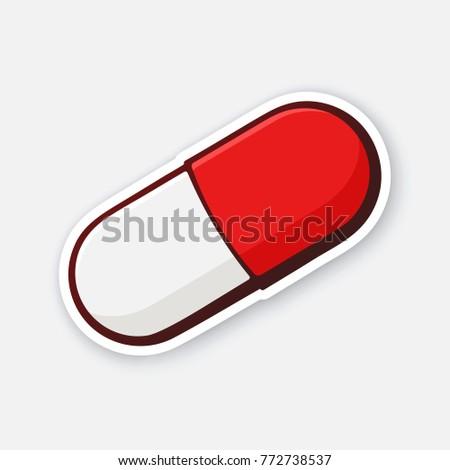 vector illustration red white pill capsule stock vector royalty