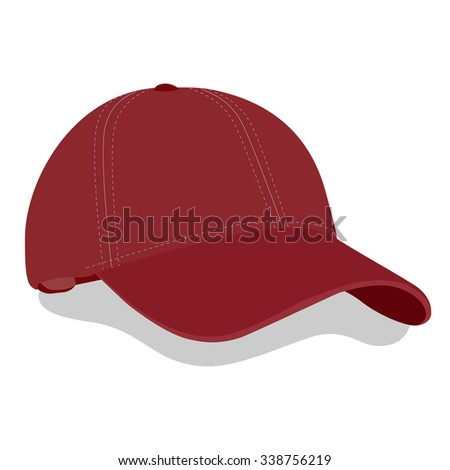 Vector illustration red baseball cap or hat with shadow. Baseball cap icon - stock vector