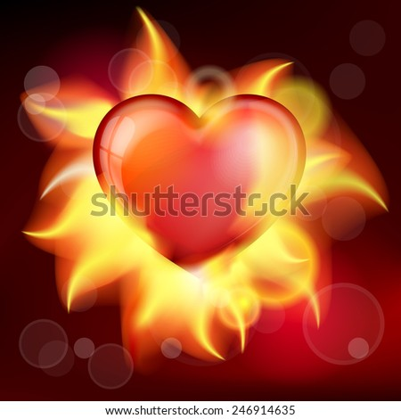 Vector illustration red burning heart for valentines day - stock vector