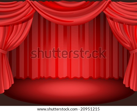 Vector illustration - Red curtains on a stage. - stock vector