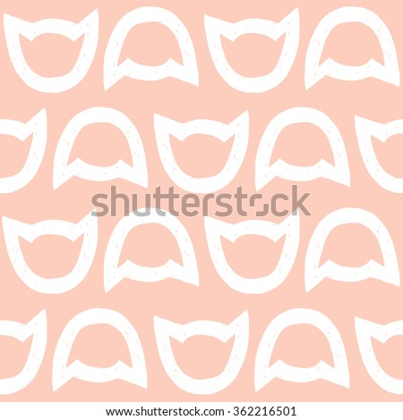 vector illustration repeat pattern of cat heads contours, on pink background - stock vector