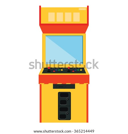 Vector illustration retro arcade game machine. Gaming machine flat icon - stock vector