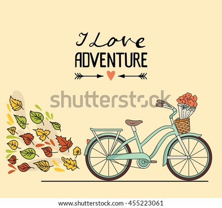 Vector illustration. Retro bicycle with luggage and space for your text - stock vector