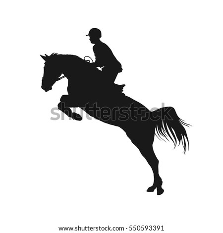 vector illustration, rider controls running horse, competitions show jumping