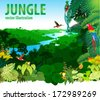 Vector Illustration River in Jungle Rainforest with Frog, Toucan, quetzal, humming-birds and Ara - stock vector