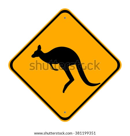 Vector illustration road sign caution kangaroo. Yellow sign - stock vector