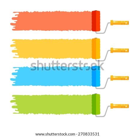 Vector illustration rollerbrushes set, four color stripes - stock vector