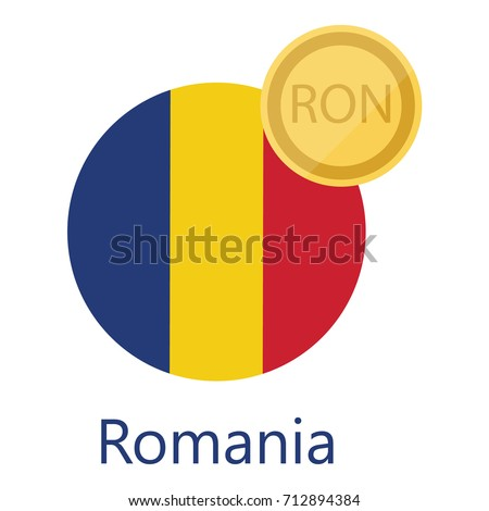 Vector Illustration Romania Round Flag Currency Stock Vector
