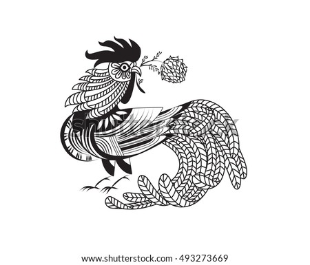 vector illustration rooster pattern