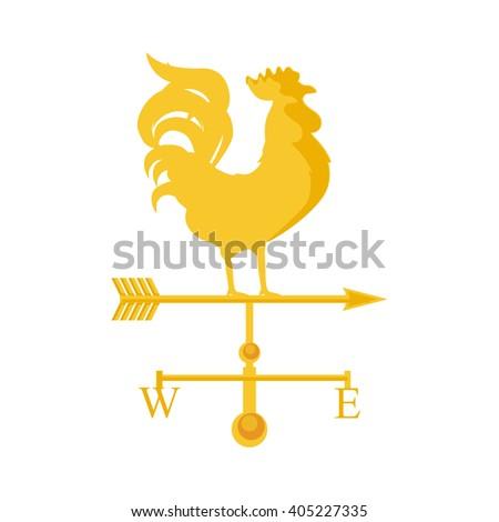 Vector illustration rooster weather vane. Golden rooster, cock. Weather vane symbol, icon - stock vector