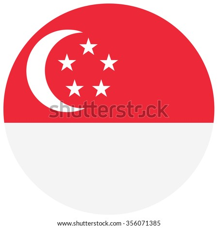 Vector illustration round flag of Singapore country. Singaporean flag. Button or badge - stock vector