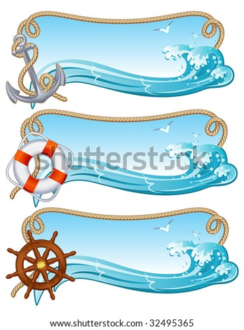 Vector illustration - sailing banners - stock vector