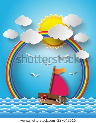 Vector illustration sailing boat and cloud with rainbow.paper cut style.