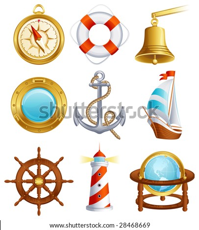 Vector illustration - Sailing icon set - stock vector
