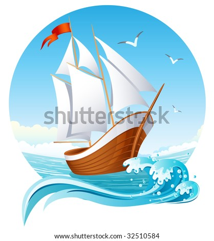 Vector illustration - sailing ship emblem - stock vector