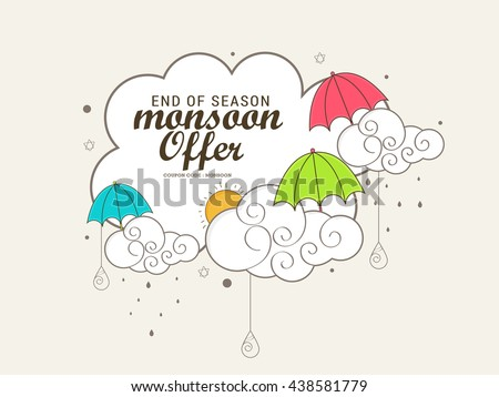 Vector illustration,sale banner,poster  for Monsoon season with colorful umbrella raining drops with text space background.