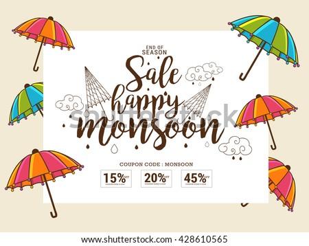 Vector illustration,sale banner,poster or flyer for Monsoon season raining drops background. - stock vector