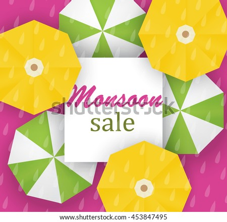 Vector illustration, sale, special offer banner,   poster for Monsoon, autumn, fall season with colorful umbrellas and rain drops with text copy space background - stock vector