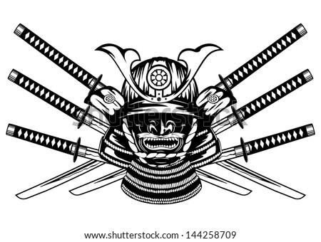 Vector illustration samurai helmet, menpo with yodare-kake, crossed katanas - stock vector