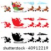 vector illustration, santa claus on his sleigh, followed by a brownie, white background - stock photo