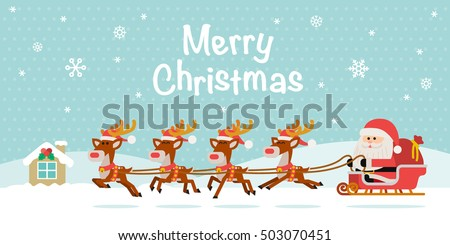 Vector illustration - Santa Claus with Reindeer Sleigh