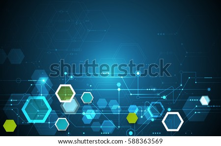 Vector illustration science innovation concept. Circuit board and hexagons or polygon background. Hi tech digital technology. Abstract futuristic, hexagon shape on dark blue color background