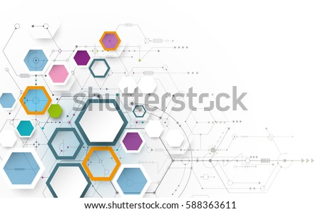 Vector illustration science innovation concept. Circuit board and hexagons or polygon background. Hi tech digital technology. Abstract futuristic, hexagon shape on light gray color background
