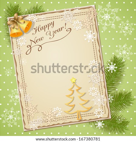 vector illustration scrapbook new year card - eps10 - stock vector
