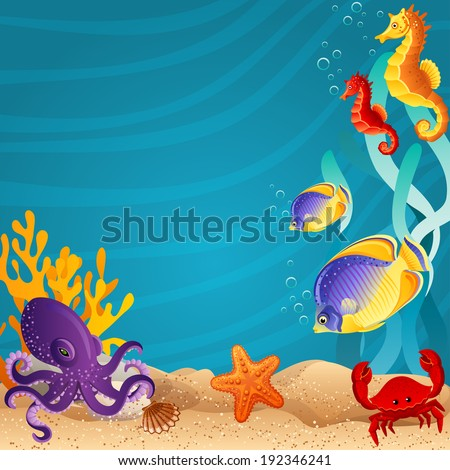 Vector illustration - Sea bottom  background - stock vector