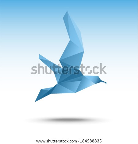 Vector illustration - Seagull (flying bird) - stock vector