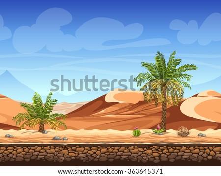 Vector illustration - seamless background - palm trees in desert - for game design - stock vector